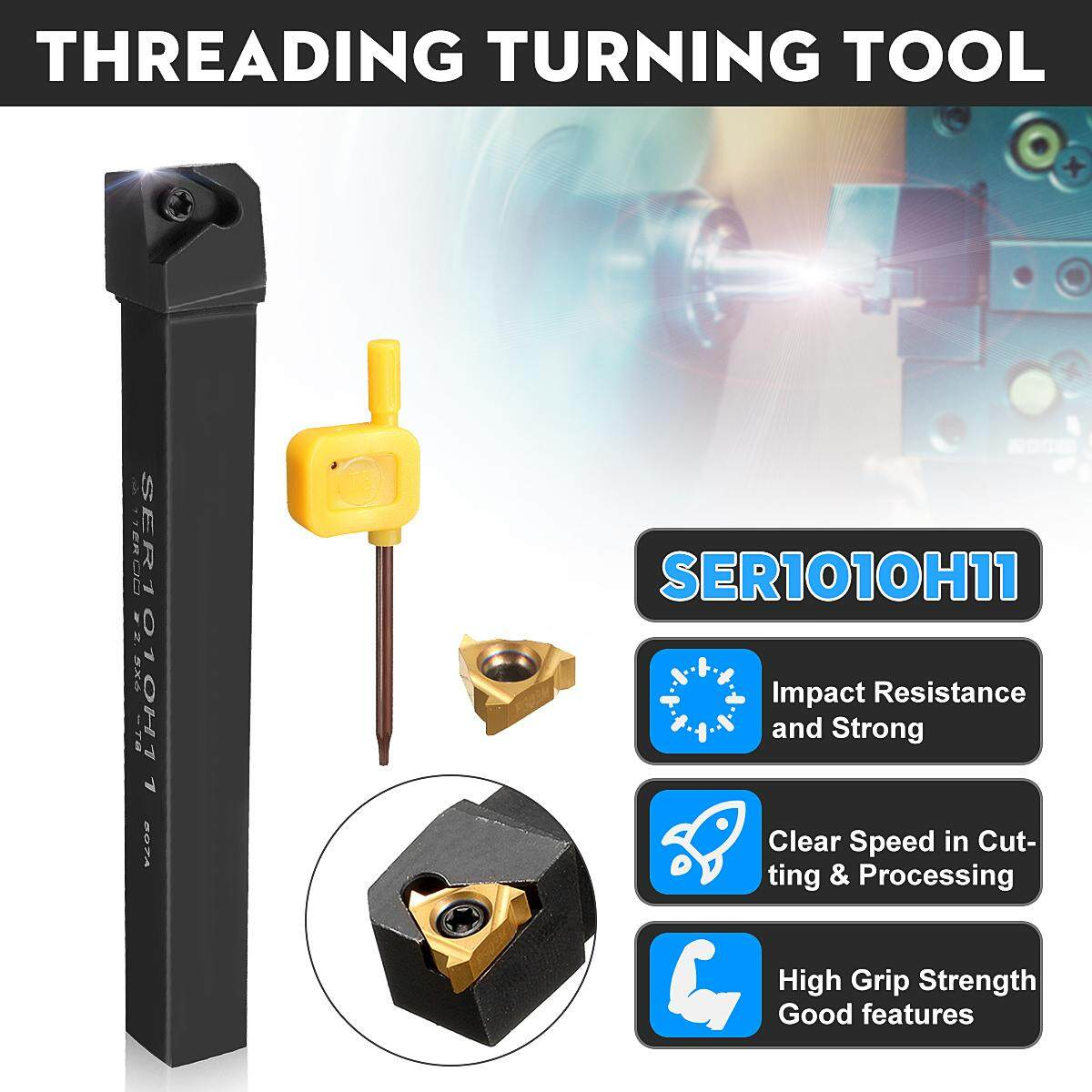 Drillpro SER1010H11 Threading Turning Tool Holder with 11ER A60 Carbide Insert