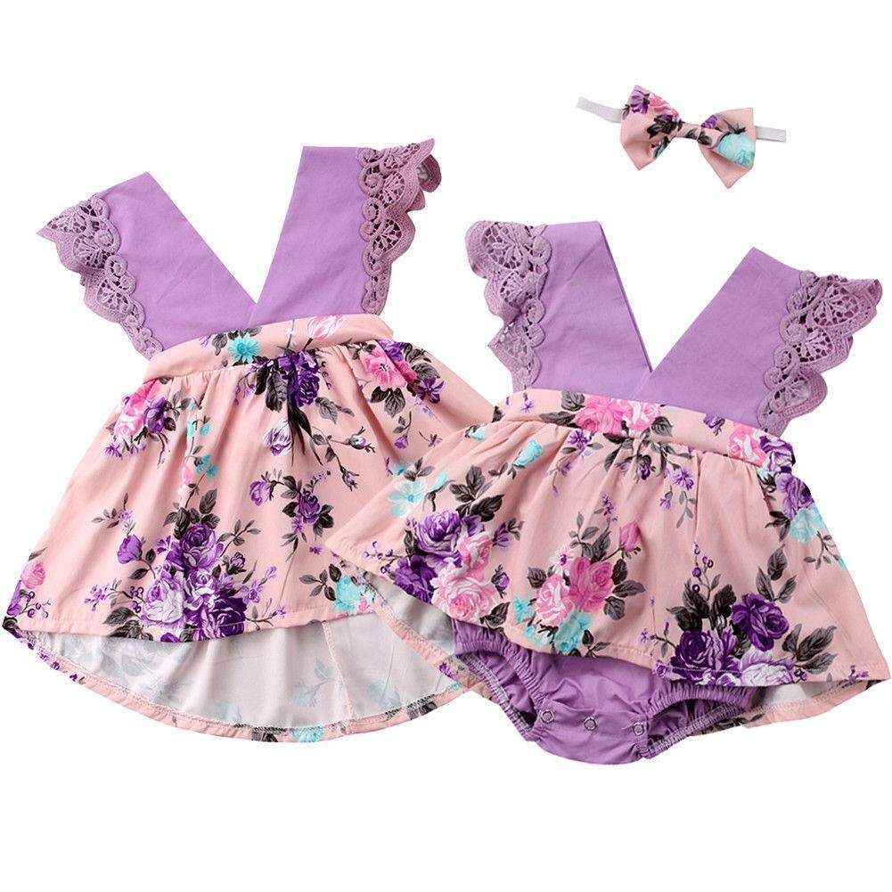 fc02c4b3e5290 Kids Baby Girl Sister Matching Floral Lace Clothes Jumpsuit Romper ...