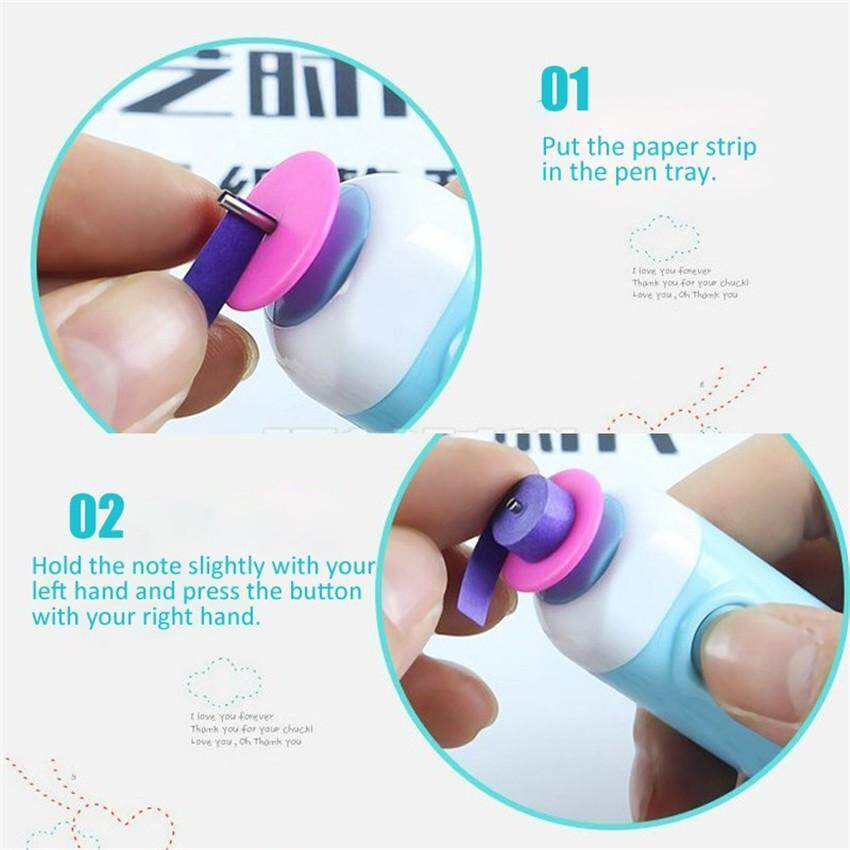 Electric Quilling Slotted Tool Automated Paper Volume Curling Pen Pink Electric Quilling Pen