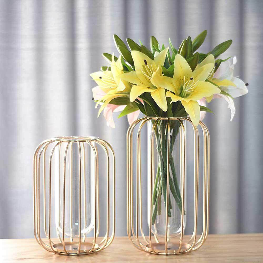 Lazada Philippines & OnLook New Style Test Tube Vase Planter Light-lantern Shaped Metal Rack Stand Glass Vases Crystal Clear Flower Vase Decorative Centerpiece for ...
