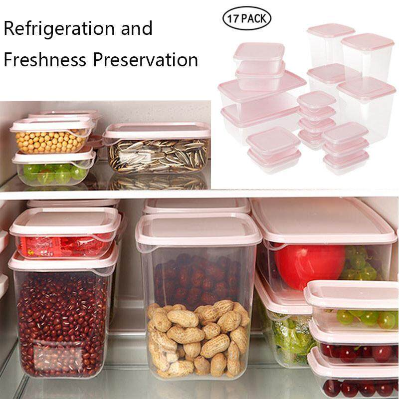 FlyUpward 17 Pieces Multifunction Plastic Lunch Box Set Green Kitchen Food  Storage Sets Oven Safe Food Containers BPA Free