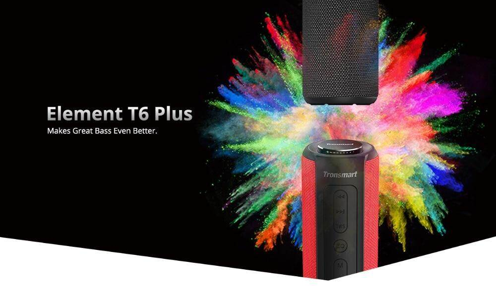 Tronsmart T6 Plus Bluetooth Speaker 40W Portable Speakers Colums Deep Bass  Soundbar with IPX6 Waterproof TWS for Siri SoundPulse | Lazada Singapore