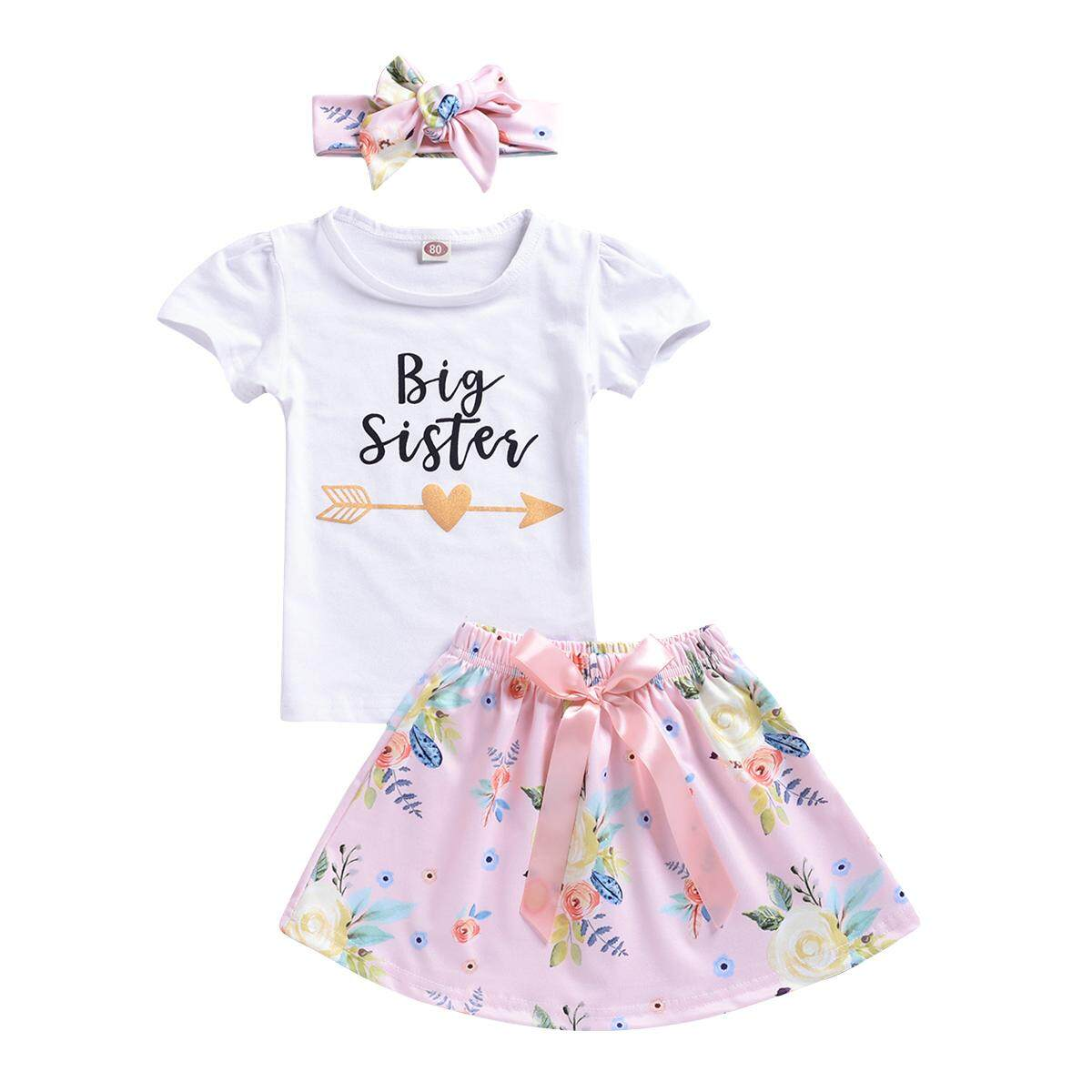 Kids Baby Girls Sister Matching T-Shirt//Romper Tops Floral Pant Outfits Clothes