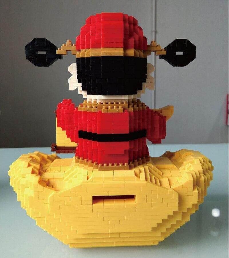 Babu Wealth God Gold Ingot Money Box DIY Diamond Mini Building Nano Blocks Toy