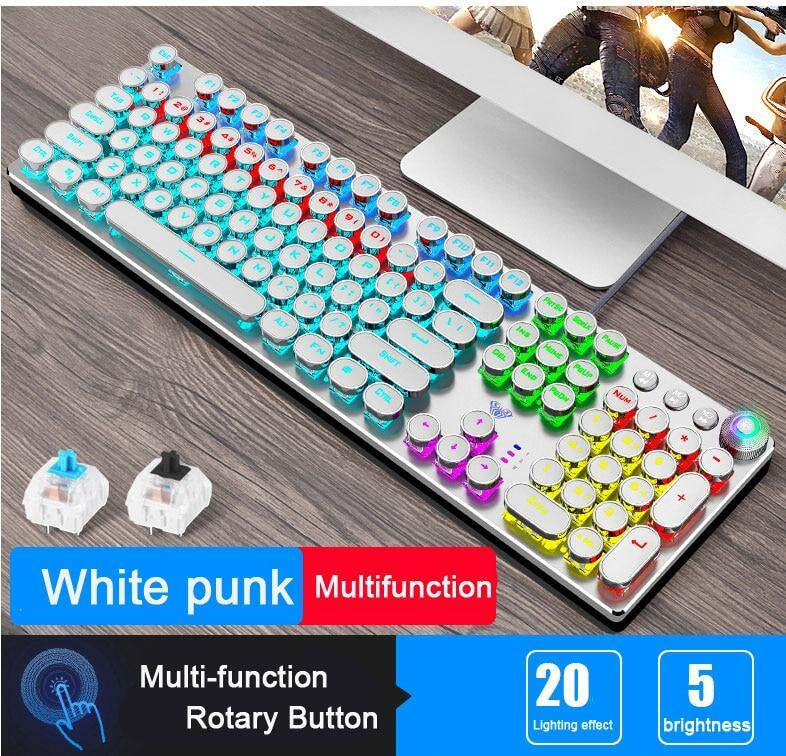 color : White 108-key Backlit Gaming Keyboard RGB Blue Axis Wired Mechanical Keyboard Desktop Computer Notebook Retro Round Keycap Digital Keyboard Office Home Punk Keyboard white, Black