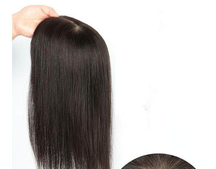 100% Real Human Hair Wig Piece Block White Hair on the head top Increase  Hair Volumes (10*12cm Area) 20Cm Length (Natural Black)