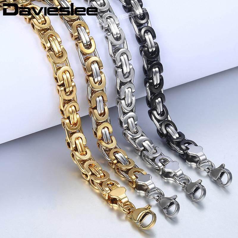 Davieslee Byzantine Chain Bracelet for Men Gold Silver Black Stainless  Steel Mens Bracelets Wholesale Jewelry 6/8/11mm LKBM31