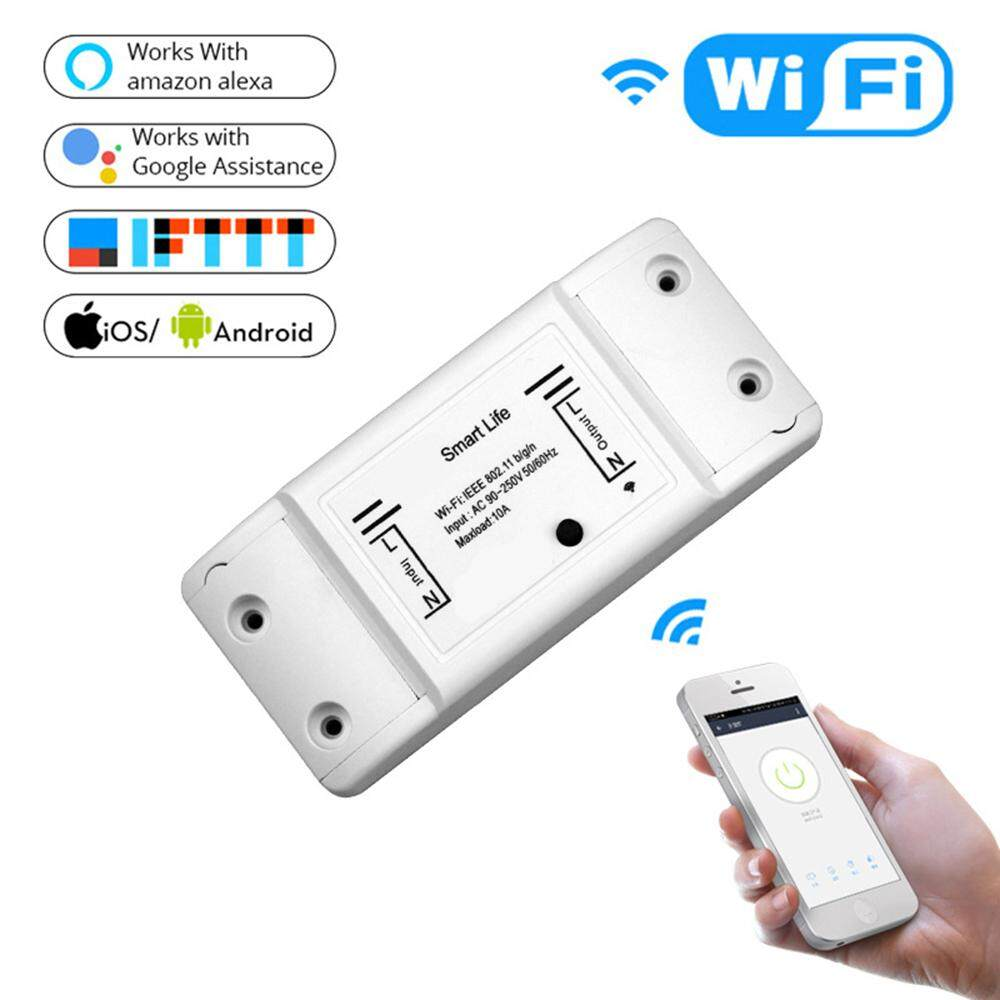 Jiuch Smart Life APP Wireless Wifi Switch Monitoring Temperature Humidity  Wifi Smart Switch Home Automation Relay Module Works With Alexa Google Home