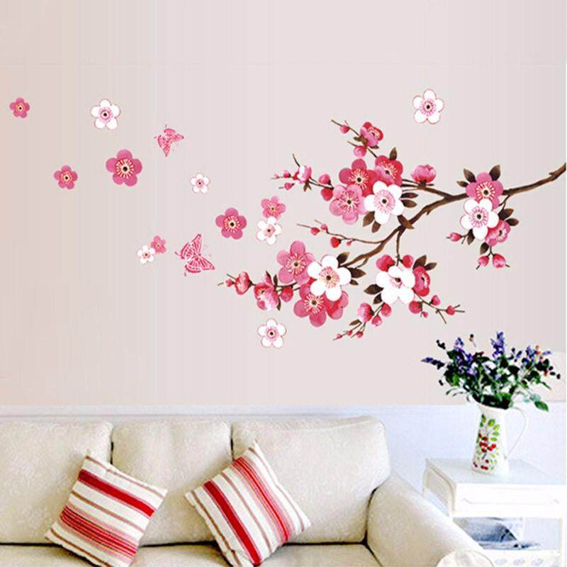 Indah Sakura Stiker Dinding Bunga Peach Wallpaper Hidup Kamar Tidur Dekorasi Rumah Stiker Mural Seni Poster Stiker Parede Lazada Indonesia