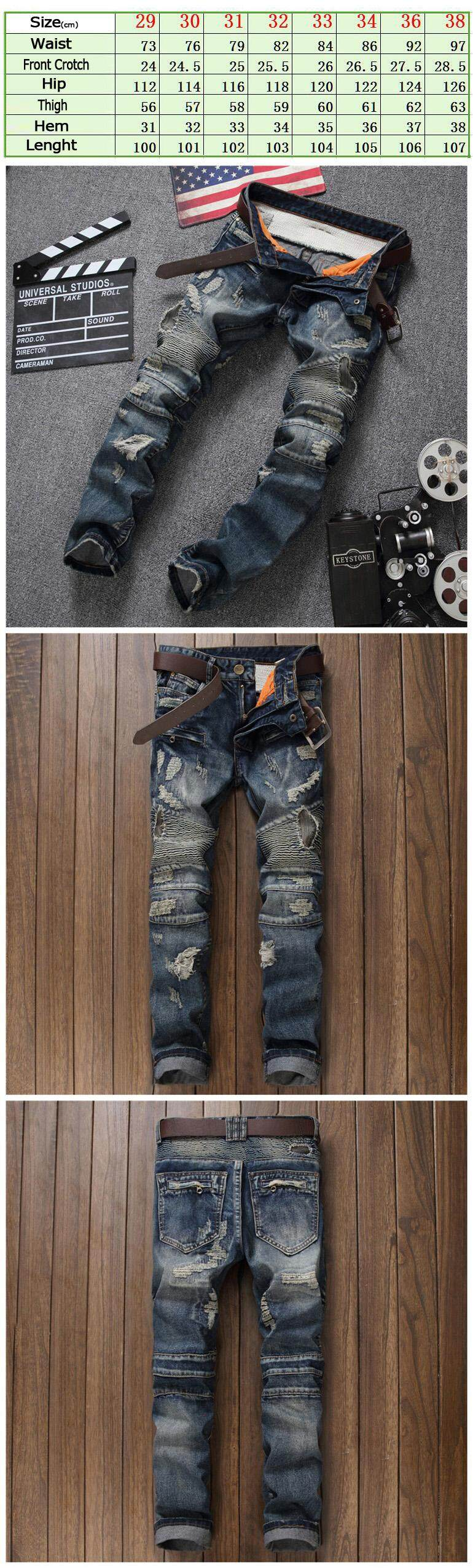 69677c1494a Product details of 2019 Fashion Men's Ripped Biker Jeans Brand Designer  Distressed Vintage Washed Denim Pants With Hole Patch Pleated Jeans For Men  Size ...