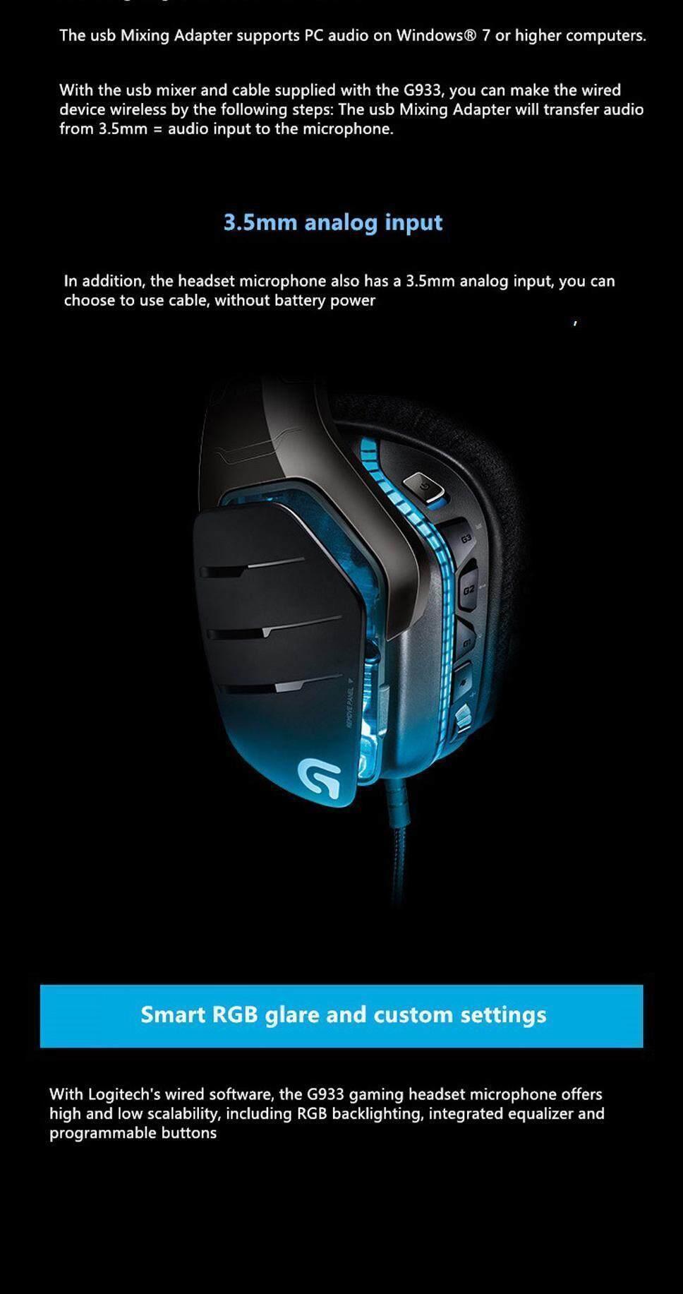 Logitech G933 7 1 Wireless Gaming Headset Surround Headphones With Mic