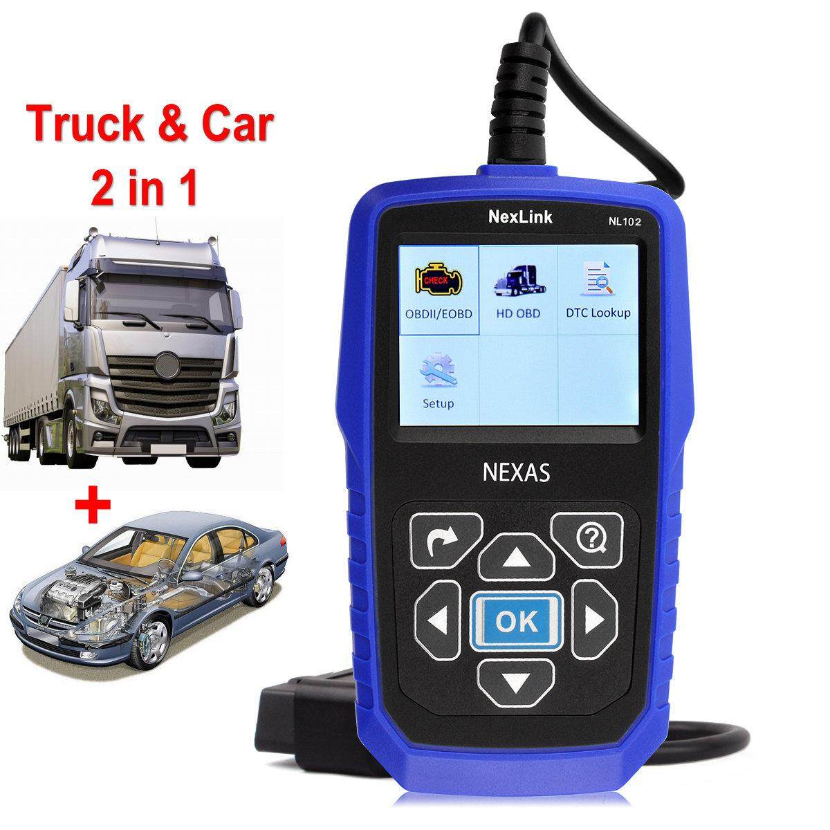 Heavy Duty Truck Diagnostic Scanner NEXAS NL102 OBD2 Scanner J1939 Protocol  For Volvo Hino Scania Renault Truck Diesel Engine ABS Diagnostic Tool