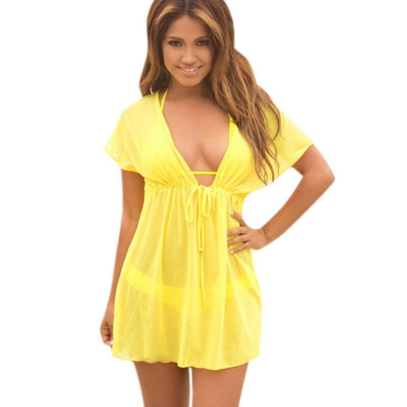 1702c39651 Product details of Women Loose Swimwear Cover Up Sheer Mesh Sleeveless Deep  V Neck Bathing Suit Beach Tunic Dress Sarongs Wear