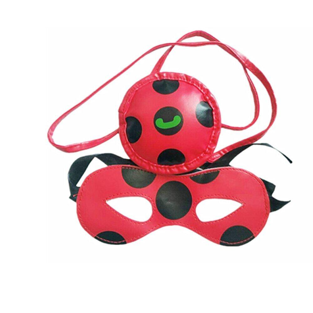 Red Beetle Ladybug Ladybird Headband Bow Tail 3Pcs Halloween Party Costume Set