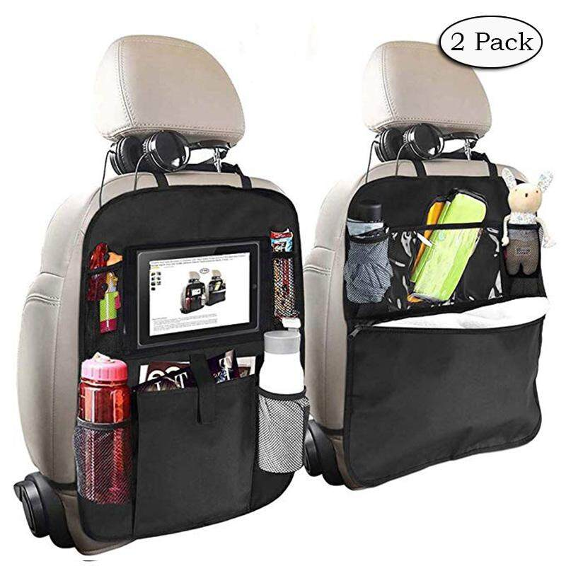Two Pack Car Backseat Organizer For Kids With Touch Screen Tablet Holder Kick Mat Seat Back Protectors With Multi Pocket Storage Bag Holder Travel Accessories For Kids