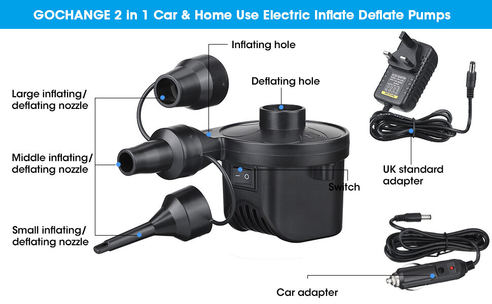 Electric Air Pump Home//Car Use for Inflatables Quick 50W Inflator//Deflator Camping Pumps with 3 Nozzles Swimming Ring for Inflatable Sofa Electric Pumps LIUMY Electric Pumps Air Raft Mattress