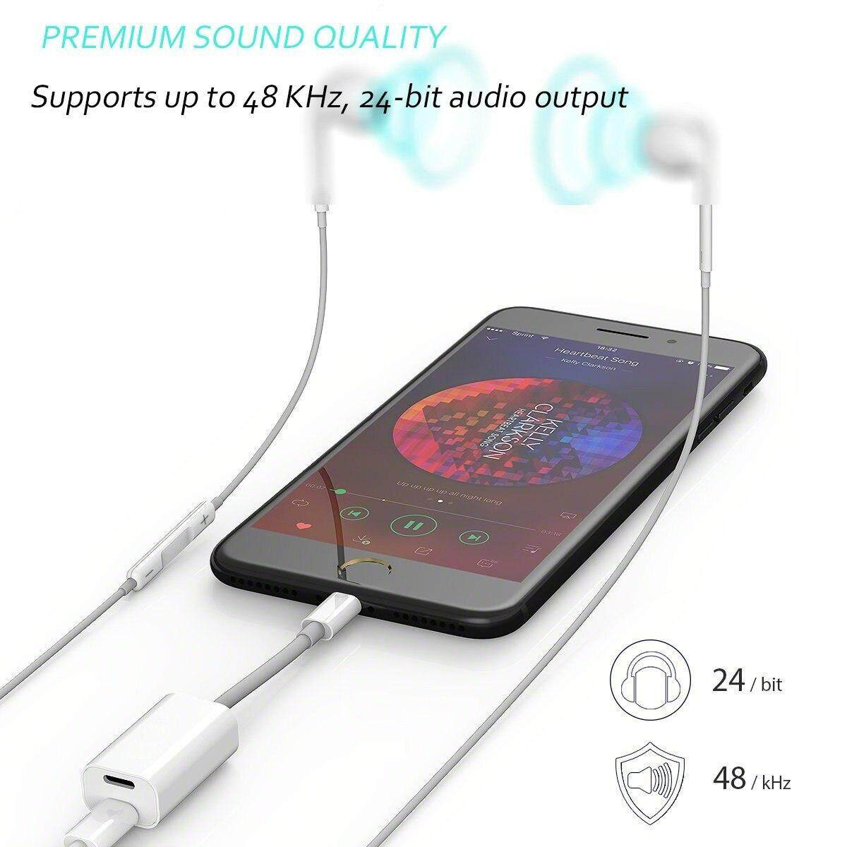 Dual 8 pin Lightning Converter Adapter Audio Charger Jack Charging  Listening Headphone Music For iPhone 7 8 Plus X XR XS Case