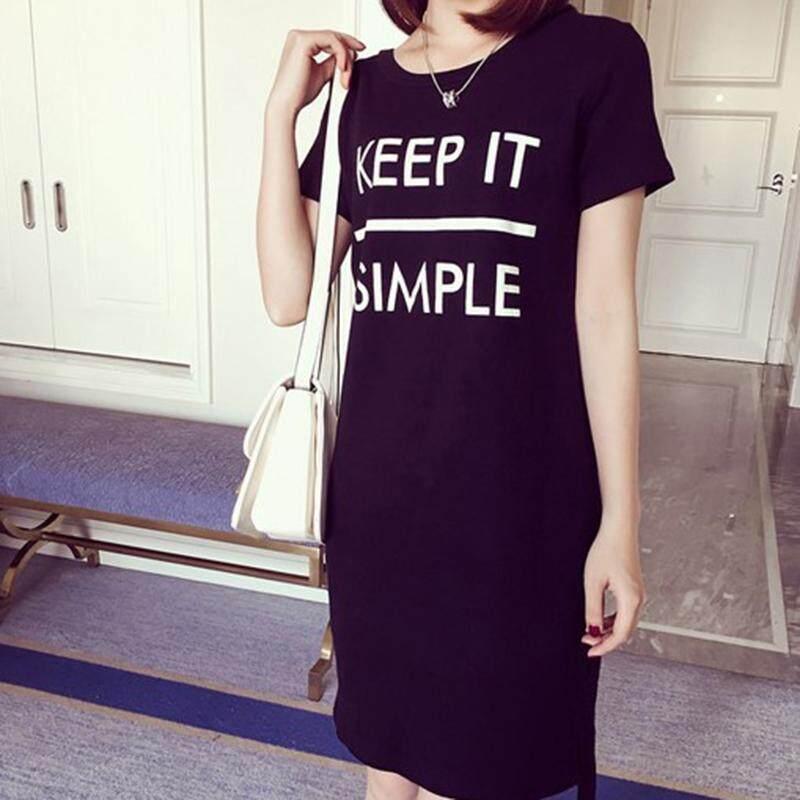 8e774ae9 Amango Women Letter Printed T Shirt Dress Casual Short Sleeve Side Split  Summer Dresses White