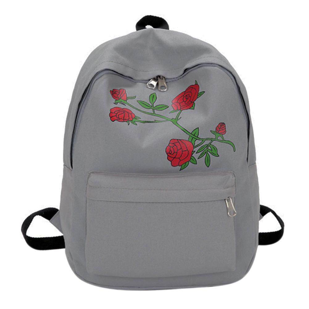 0dd49979606a 〔MyHomever〕Preppy Chic Women Canvas Flower Embroidery Large Capacity School  Backpack