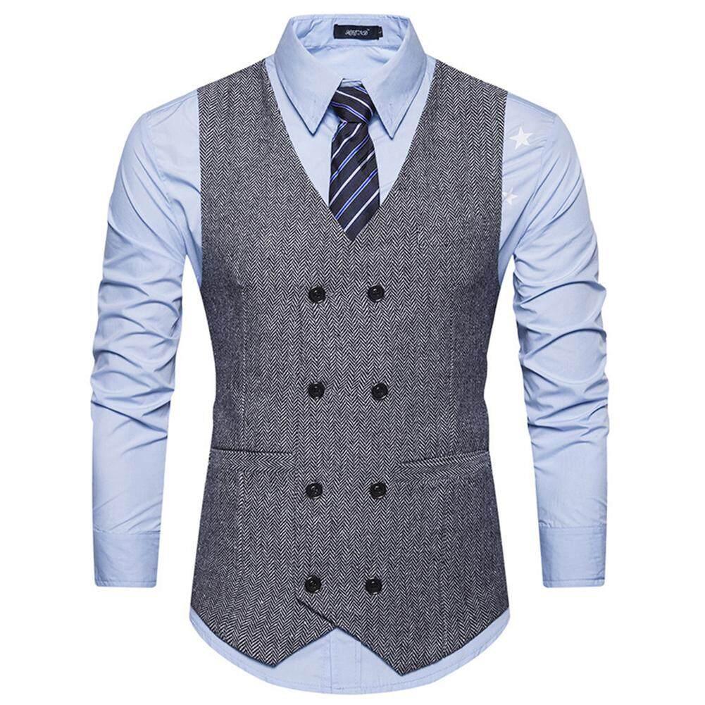 BS Men Woolen Double-breasted Suit Vest