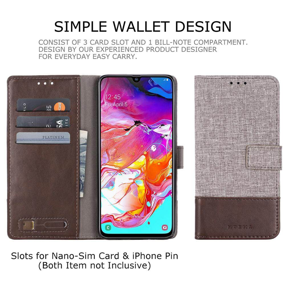 Muxma Canvas Leather Case for Samsung Galaxy J6 Plus Business Case Soft TPU  Card Slot Wallet Stands Cover Flip Phone Cover
