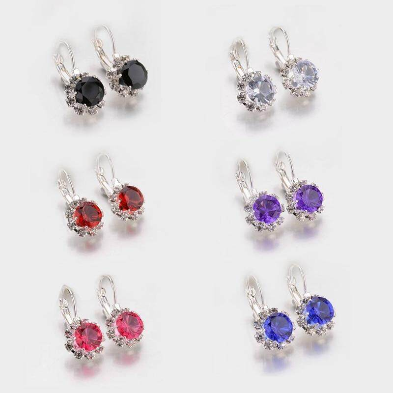 Fancyqube 6 Colors Big Crystal Stone Rhinestone Drop Earrings Cube Zirconia  Cuff Earring For Women Jewelry Pendientes Mujer Dropshipping