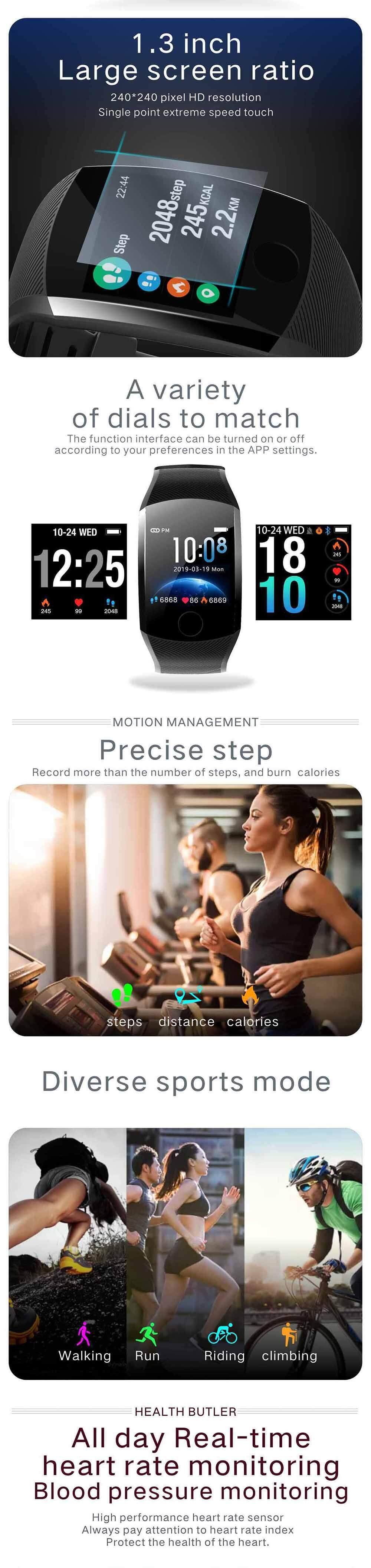 Q11 Smart Watch Heart Rate Blood Pressure Monitor Bracelet Pedometer Sleep  Monitoring Bluetooth Waterproof Fitness Tracker For IOS And Android PK Mi