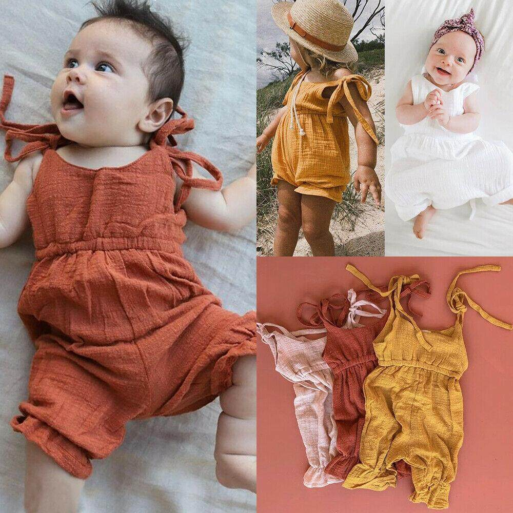 US Cute Toddler Baby Girl Summer Solid Romper Bodysuit Jumpsuit Outfits Sunsuit
