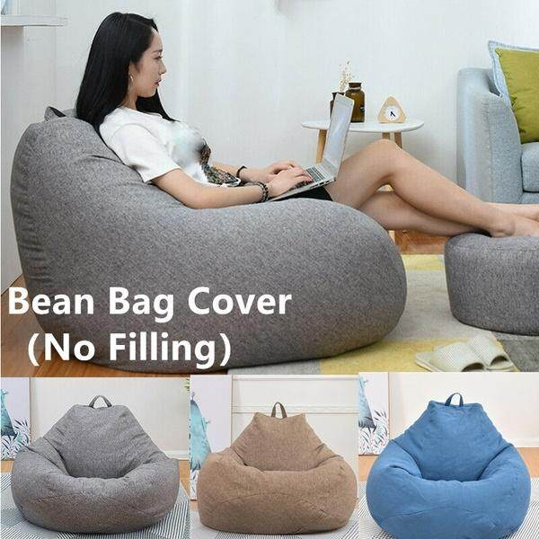 Wondrous 3 Sizes Large Bean Bag Sofa Cover Lounger Chair Sofa Living Room Furniture Without Filler Beanbag Bed For Adults Kids No Filling Ibusinesslaw Wood Chair Design Ideas Ibusinesslaworg