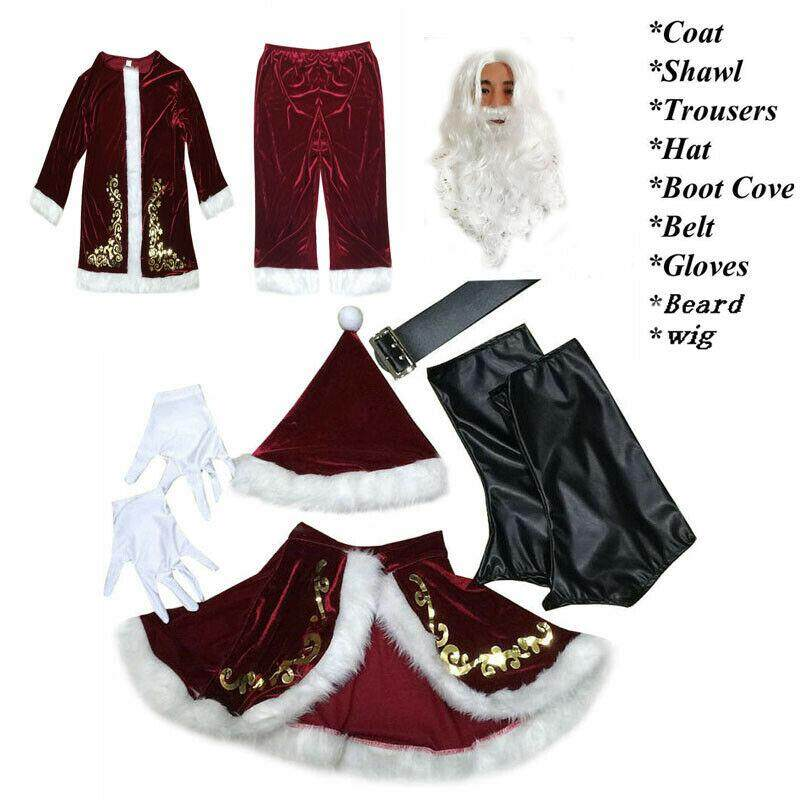 Mens Santa Claus Costume Complete Fancy Dress Outfit Adult unused