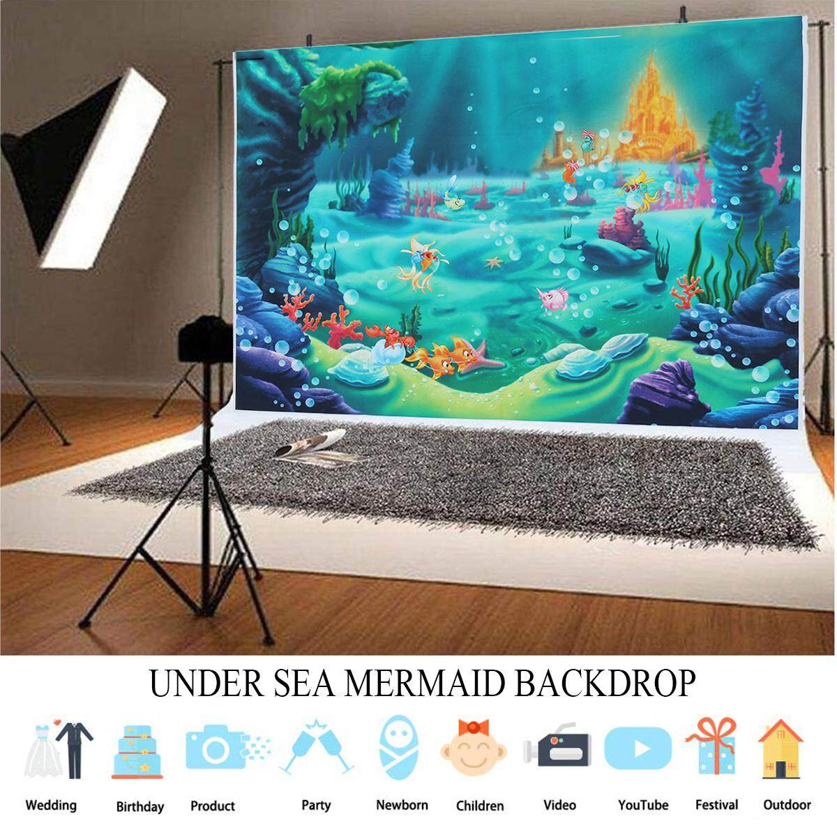 220x150cm Under Sea Mermaid Backdrop Castle Blue Sea Grass Shell  Photography Back