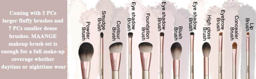 b8891280cc48 MAANGE Makeup Brushes Set with Handle Makeup Brush Bag Synthetic Kabuki  Foundation Blending Face Powder Blush Eye shadow Makeup Brush Kit