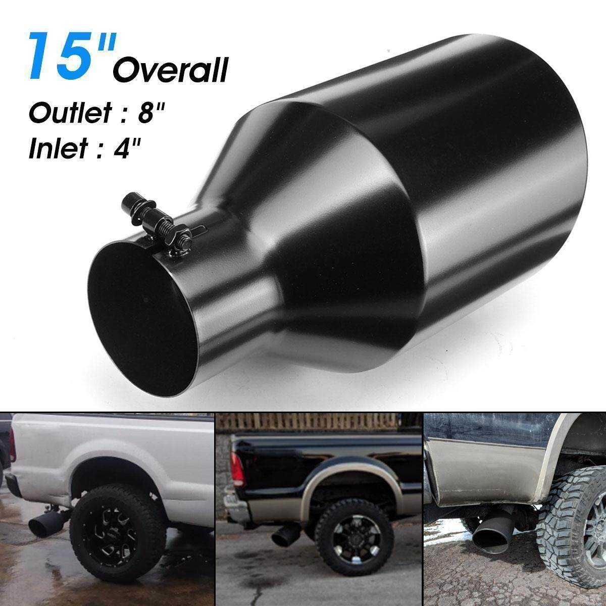 Parts & Accessories Exhaust 8 Outlet 4 Inlet Exhaust Tip 15inch Long Rolled Edge Bolt-on Stainless Steel