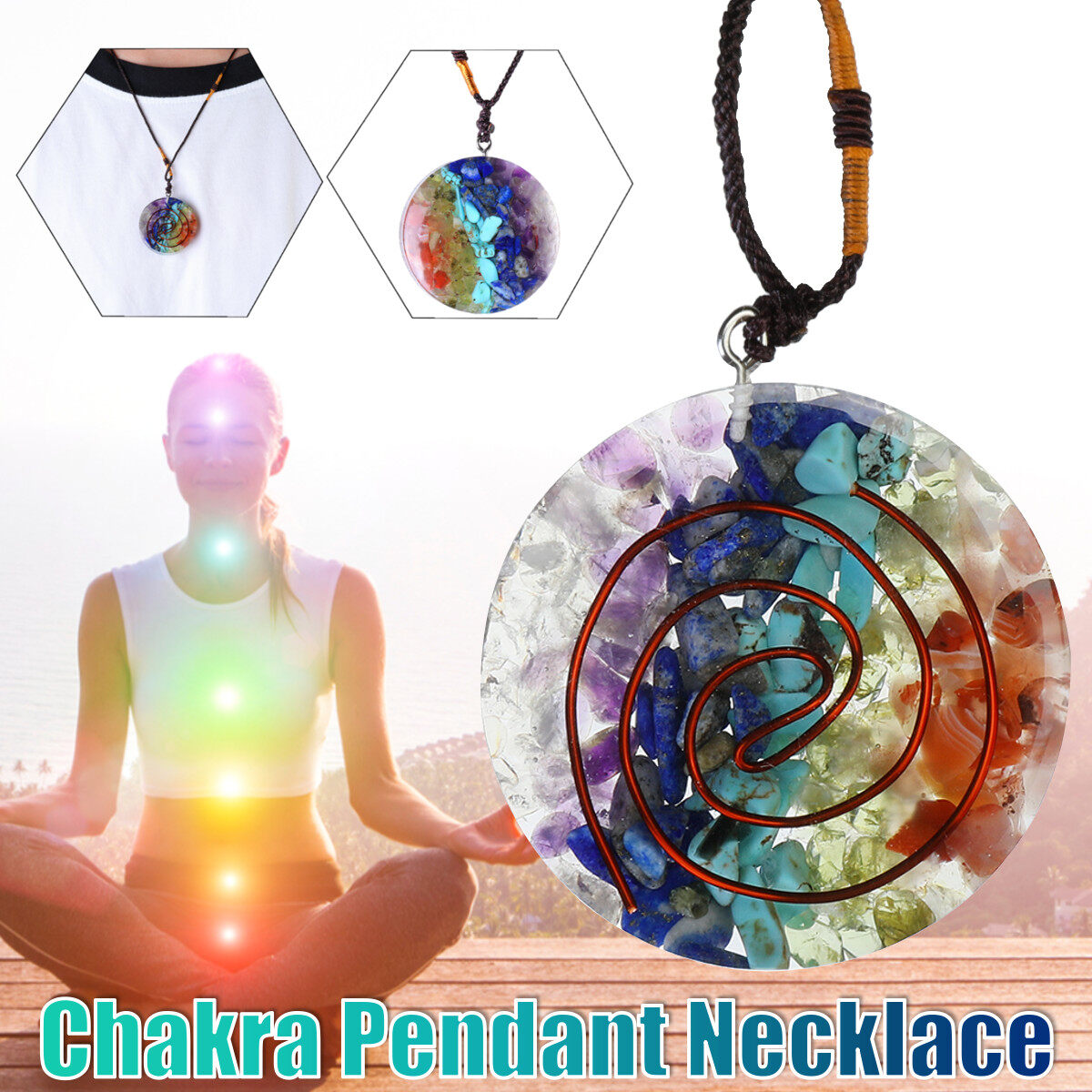Orgone 7 Chakra Pendant Reiki Charged Copper Coil Healing Round Cord Necklace OM
