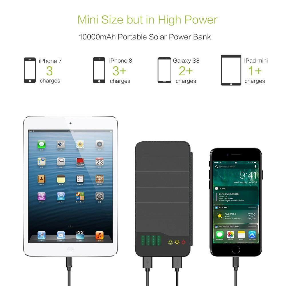 20000mAh Solar Power Bank Waterproof Solar Charger External Battery Backup  Pack for Cell Phone Tablets iphone Samsung