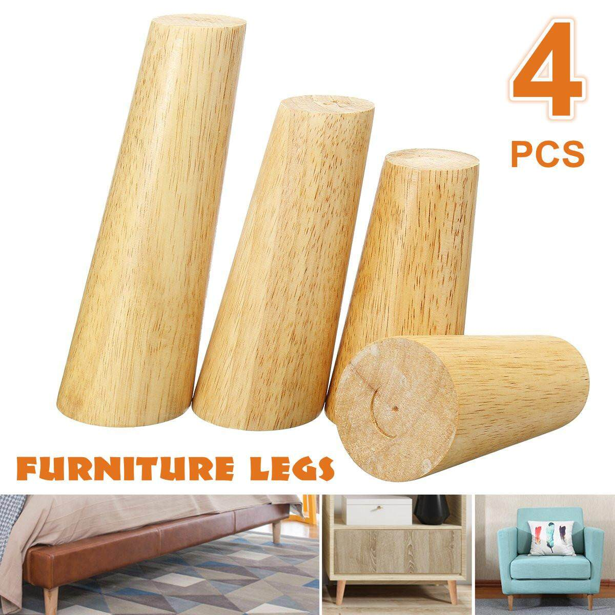 Solid Wood Wooden Cone Furniture Legs