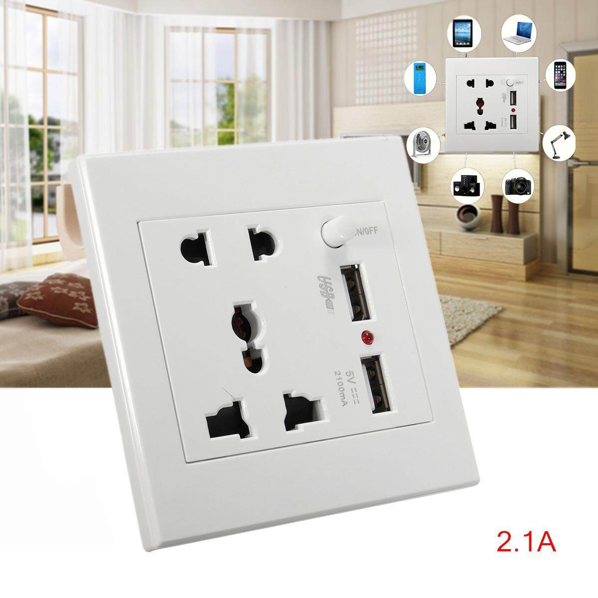 10PK USA Dual USB Port Wall Charger Socket Socket Power Adapter Outlet Panel