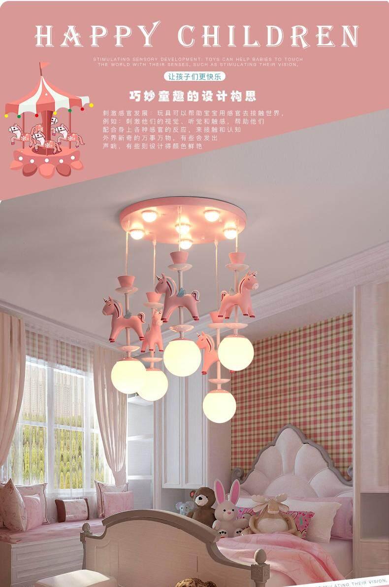 Novelty led bulb ceiling light cartoon animal carousel chandelier children kids bedroom pendant lamp hang pendent light sleeping light