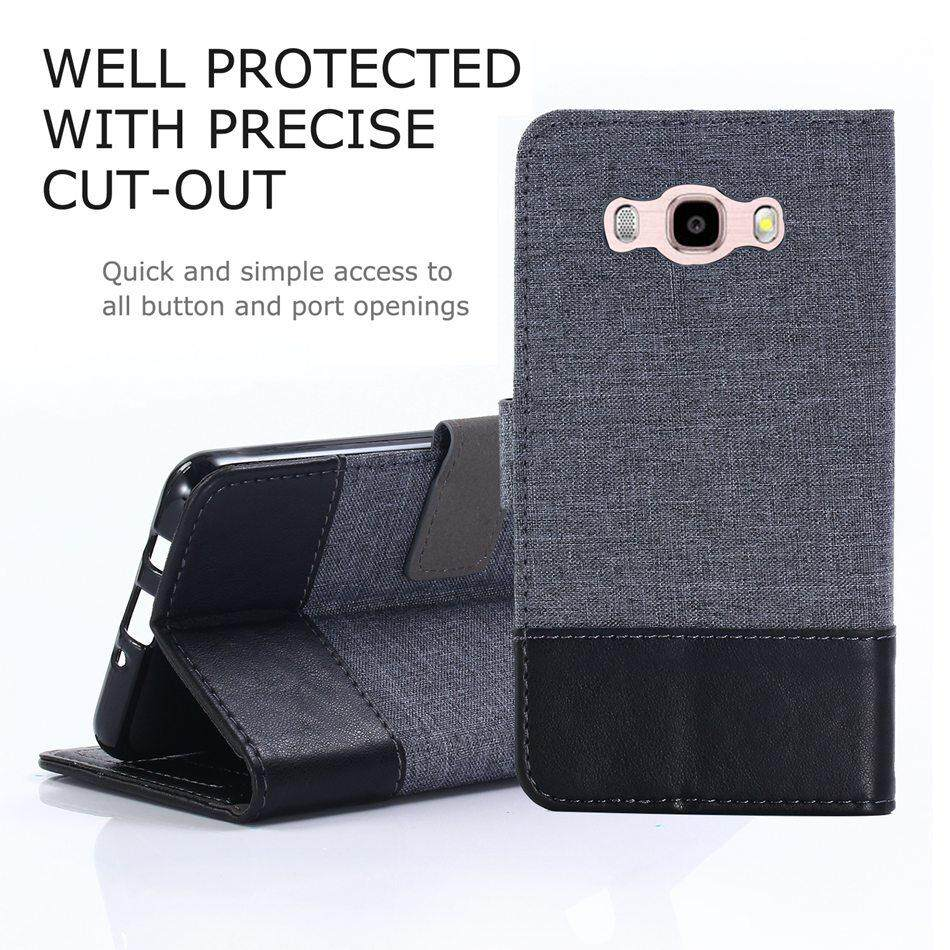 new concept f7856 1897c Original MUXMA Flip Case for Samsung Galaxy J7 2016 / J710 Luxury Canvas  Leather Cover Wallet Coque Card Holder Mpbile Phone Bag
