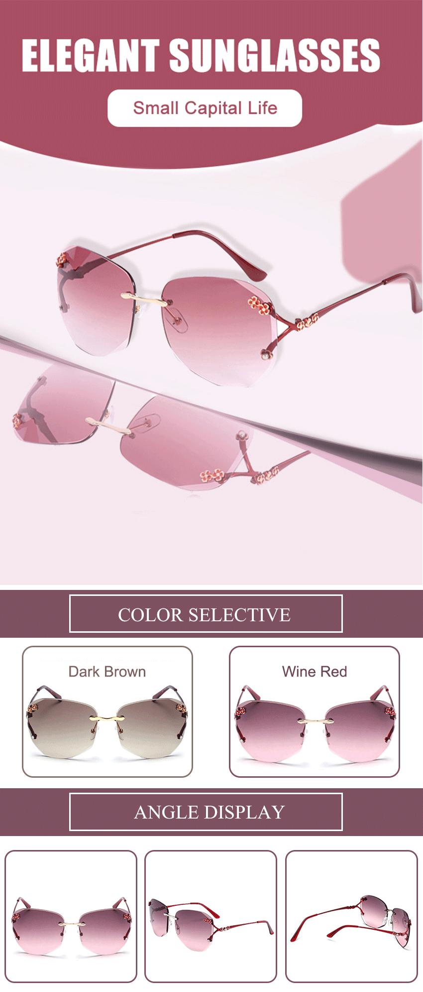 New Frameless Women/'s Fashion Rimless Sunglasses Metal Frame Colored Lenses Red