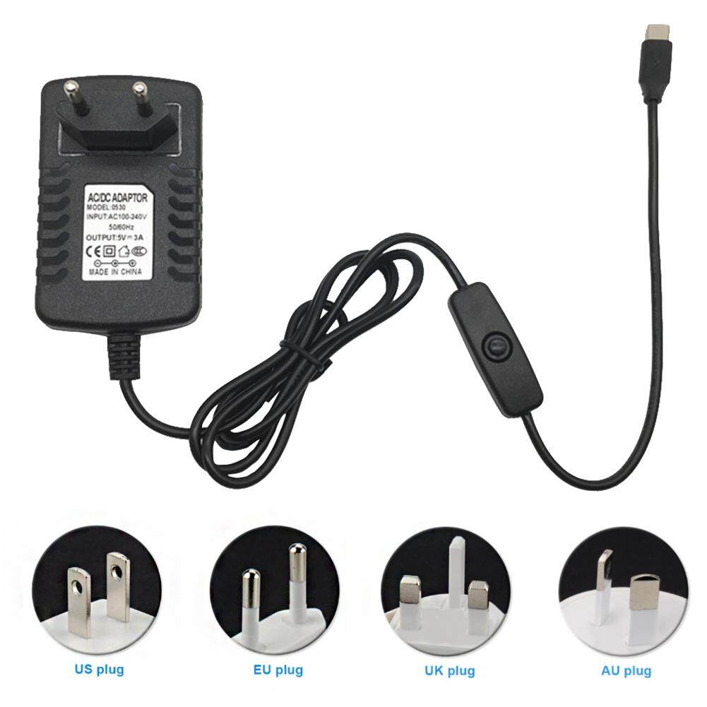 5V3A Charger Type C Power Supply Universal With Switch USB Portable  Overload Protection For Raspberry Pi 4