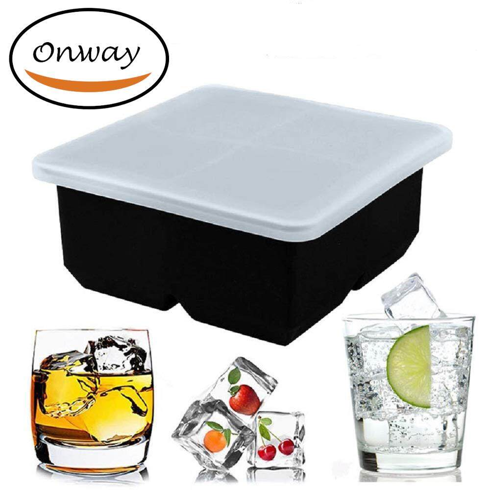 4 Square Ice Cube Tray With Lid,Onway Whiskey Frozen Silicone Square Ice  Cubes Molds Baby Food Supplement Freshness Storage Box