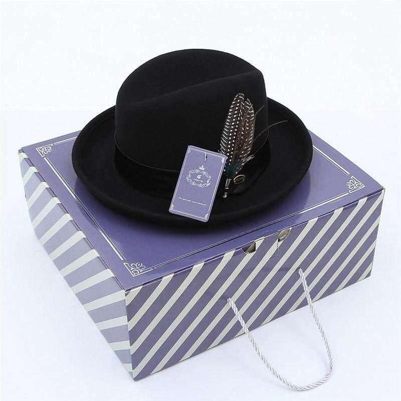 f2517c1d7e867 Specifications of Classical Jazz Cap Pure Wool Fedoras Men Felt Hat With  Beauty Feather Male Vintage Curved Brim Woolen Billycock Top Hat