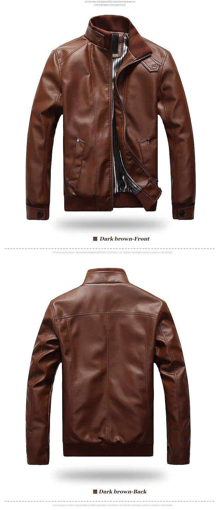 28f767e10 New Fashion Motorcycle Leather Jackets Men Leather Coat Casual Slim Coats  with Zipper Man Outerwear Stand Collar Jackets Jaqueta