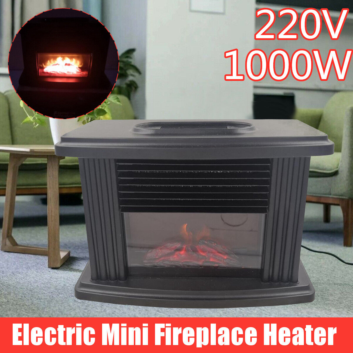 1000w Electric Mini Fireplace Heater Flame Instant Heating With Overheating Power Off Protection Living Room Lazada Ph