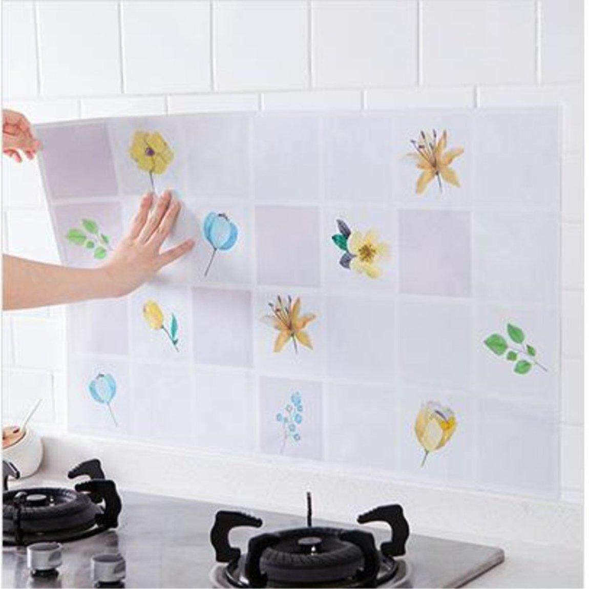 Hot Sale Creative Fashion Kitchen Wall Stickers Self Adhesive High Temperature Oil Proof Waterproof Wallpaper Wall Decor Decal Removeable Smokeproof