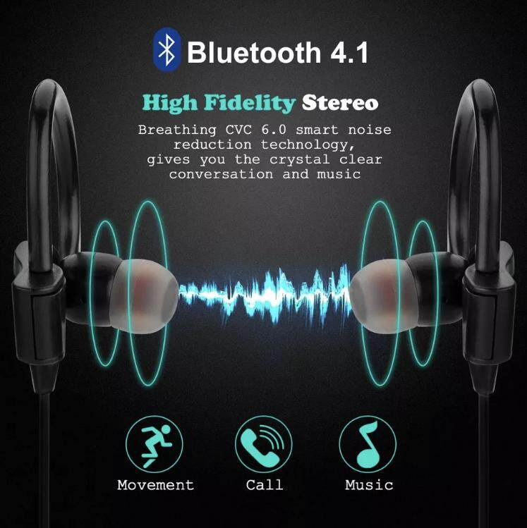 Original Bluetooth Headphones Wireless Headsets Sports Sweatproof Earbuds  Hi-Fi Stereo Earphones Strong Bass Headsets with Mic for Smartphone PC