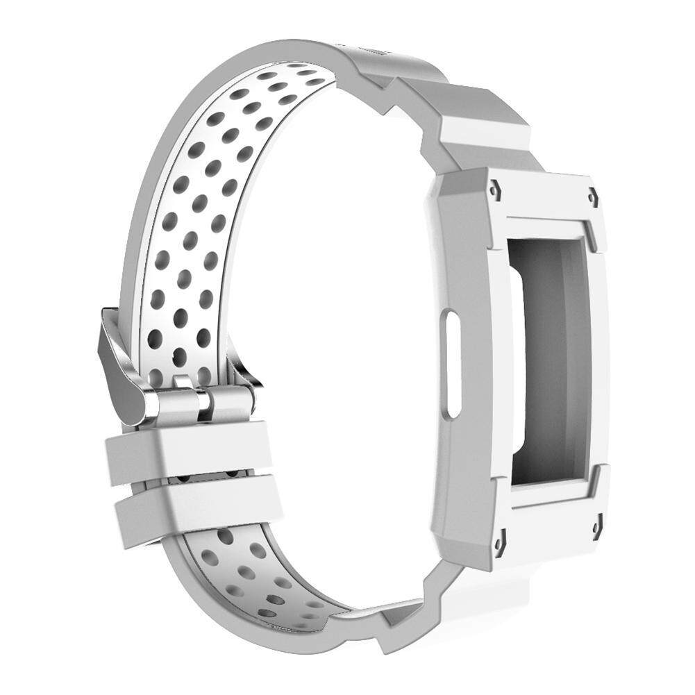2 in 1 Silicone Watch Band Wrist Strap Protective Cover for Fitbit Charge 3