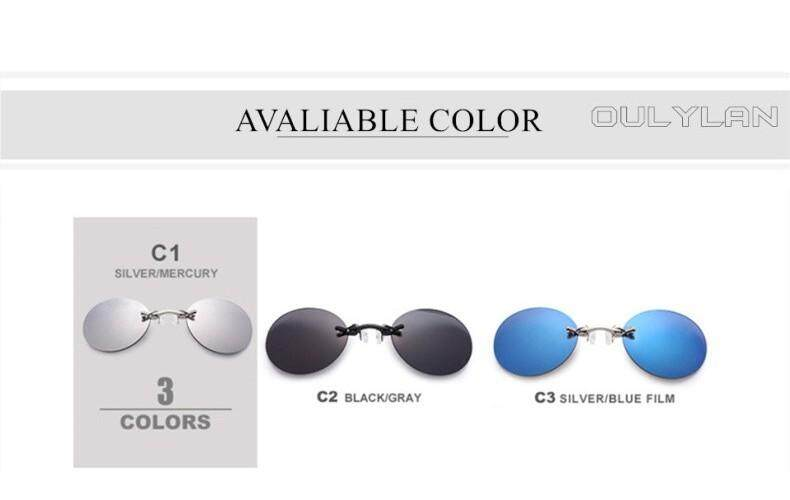 Retro Round Clip On Nose sunglasses Matrix Movie Rimless Sun glasses Men UV400