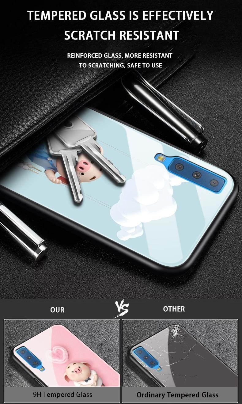Maikcq Super Fashion Lucu Babi Kentut Kaos Gambar Kartun Kaca Antigores Plus Edge Tpu Pelindung Kejut Ponsel Case Cover Untuk Samsung Galaxy A7 2018